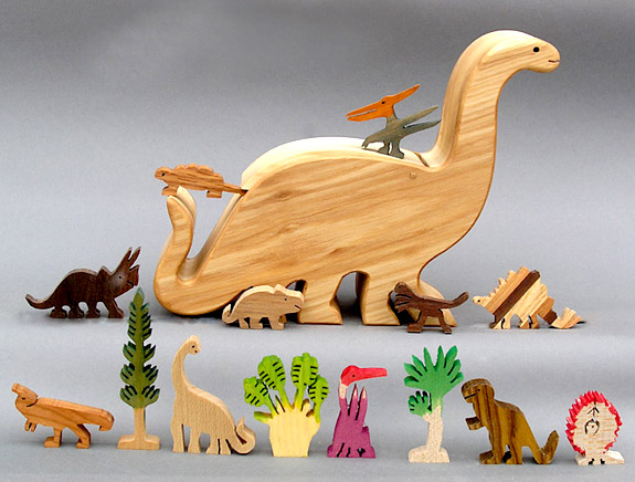 wooden animals in a animal box