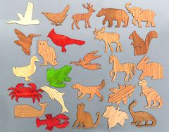 wooden cutouts with animal designs